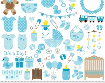 Baby Boy Clip Art, Blue Baby Shower Clipart, Nursery Clip Art, Baby Boy Vector Clipart, Baby Boy Onesie Clipart, Digital Download