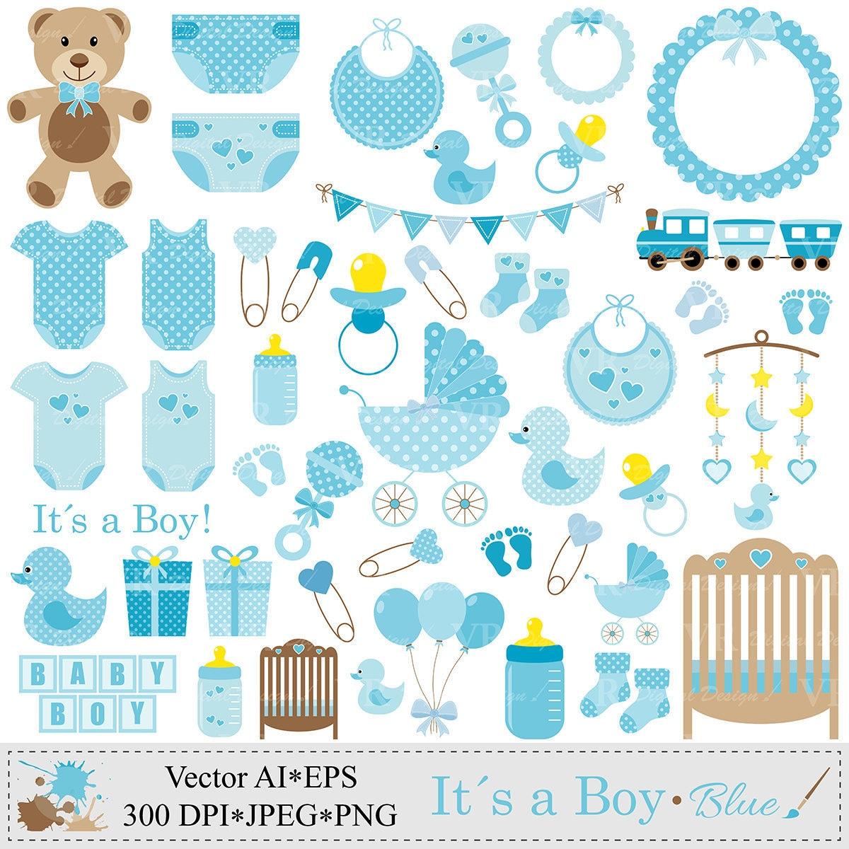 baby boy clip art blue baby shower clipart nursery clip art rh etsy com Baby Boy Shower Borders Clip Art Baby Boy Shower Borders