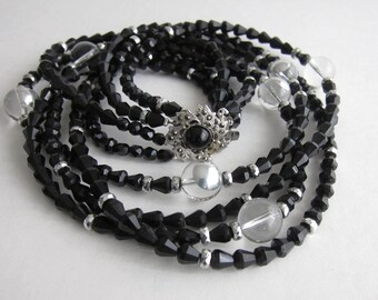 1950's, faceted glass beads necklace. Rare.