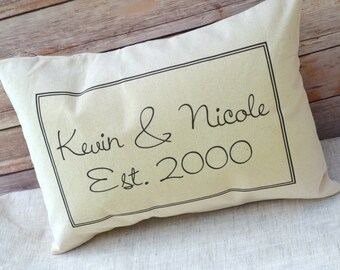Valentines, Couples, couples names, personalized pillow, script, 2nd anniversary, wedding gift, cotton anniversary, engagement -kevin&nicole