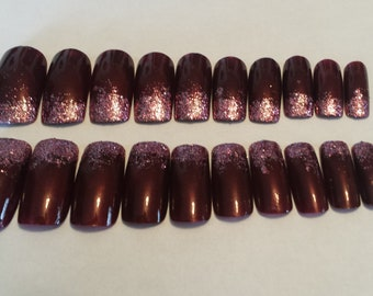 Burgundy and Pink Full cover artificial nails-Long Length, Square Tips