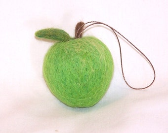 Christmas Ornament - Miniature Fruit Ornament -  Needle Felted - Green Apple - Felt Christmas - Holiday Decoration - Christmas Gift