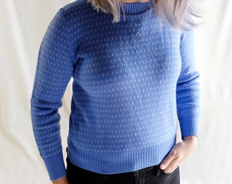 Vintage Sky Blue Dotted Sweater