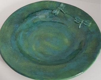 Blue Green Dragonfly Serving Bowl