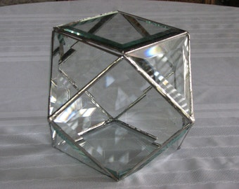Sparkling beveled glass box with facets like a jewel to display your keepsakes
