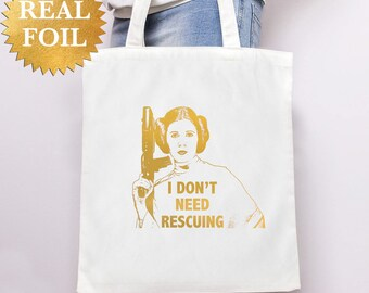 PRINCESS LEIA Gold Foil TOTE, Inspirational Quote Star Wars Gifts for Her, Christmas White gift tote, Canvas Tote Reusable Shopping Bag