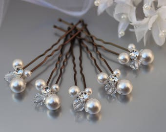 Pearl Hair Pins, Ivory Pearl Hair Pins, Pearl Cluster Hair Pins, Soft White Wedding Hair Pins, Bride Hair Pins, Evening Wear Hair Pins