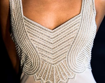 Taupe Evening Gown with pearl, sequin and beaded body