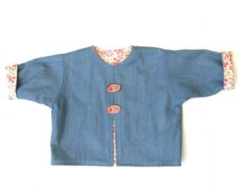 Denim Reversible Baby Jacket/Coat, Baby Girl's Jacket, Baby Cord Jacket, Size 6-9 mths, Size 0