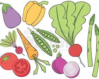 Doodle Vegetable Clip Art Set, Hand drawn Food Clipart, Commercial Use, Instant Download, Digital Download Art, Vector Graphics