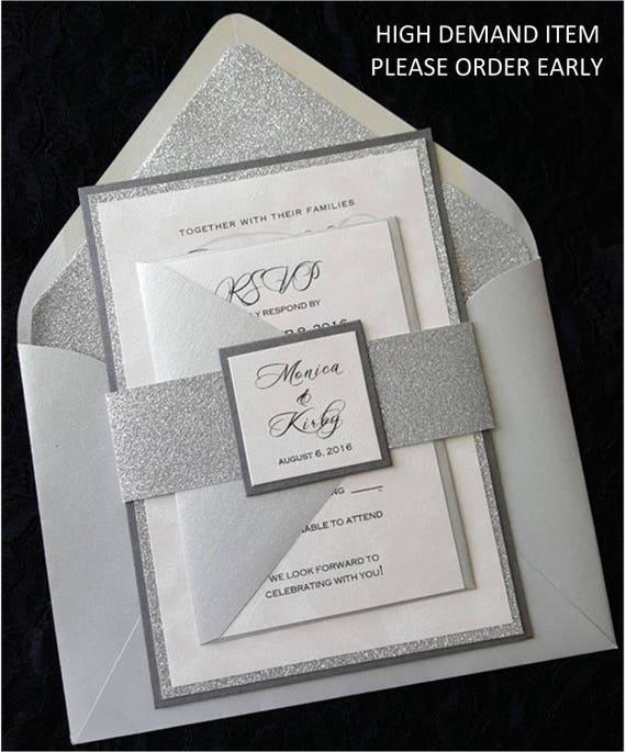 Completely new Glitter Wedding Invitation Silver Glitter Wedding UO63
