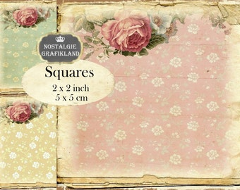 Vintage Background Flowers Squares 2x2 inch squares Instant Download digital collage sheet TW155