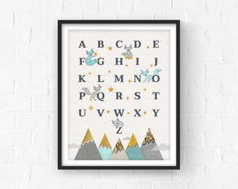 Nursery Decor, Nursery Art, Baby Woodland Decor, Nursery ABC, Baby Gift, Nursery Prints, Alphabet, Neutral Wall Art, New Baby Gift, Mint