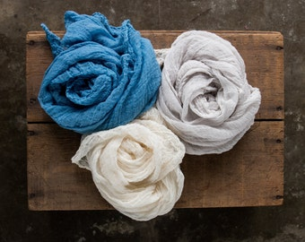 Cheesecloth Wrap Set, Newborn Photography Prop, Hand Dyed, Cheesecloth Set, Newborn Prop, Baby Boy Wraps, Newborn Boy Photography Prop