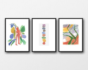 Set of 3 Watercolor Prints, Wanderlust Wall Art, Living Room Decor, Abstract Modern Art, Set of 3 Watercolor Prints