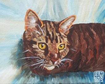 """Tabby, Original Oil Painting of Cat on 8"""" X 10"""" Canvas Board--Lovely Gift for Cat Lovers or as Wall Decor"""
