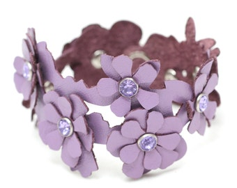 Leather cuff bracelet purple flower bracelet wedding jewelry with crystal centers third anniversary Valentine's day Mother's day gift