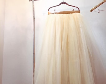 Sale Champagne Dreams Floor Length/Maxi Tulle Skirt with Satin Ribbon Sash Customer Return Size XXL