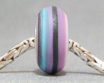 Purple & Black Handmade Stripe Lampwork Glass Bead Euro Bracelet Charm Pop Art II