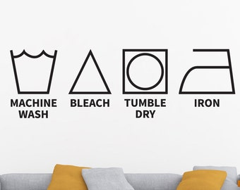 Laundry Decor, Laundry Room Decal, Laundry Decal, Laundry Symbols, Laundry Wall Decal, Laundry Room Wall Decor, Laundry Room Wall Decal