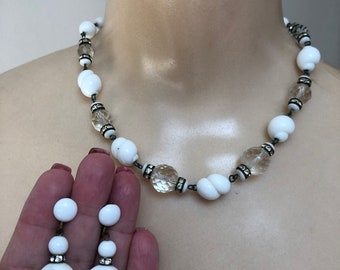 Vintage white milk glass clear crystals beads necklace earrings set, white midcentury glass beads jewelry, white earrings CHOICE