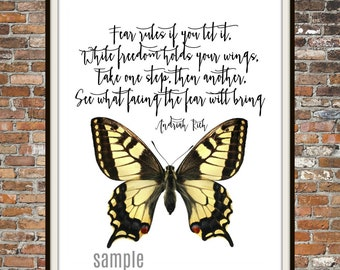 FEAR, Original Prose, Andriah Rich, Face your fears, Freedom, Wings, Peace, JPEG PDF, printable wall art, for the home