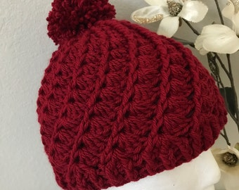 Crocheted Slouchy Spiral Women's Winter Hat Cherry Red