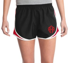 Black and Red Monogrammed Shorts, Personalized Running Shorts, Work Out Shorts, Gym Shorts, Monogrammed Running Shorts, Personalized Shorts