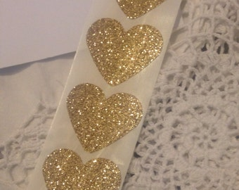 Heart Seals - Large Sparkly Glamour Gold Glitter Heart Envelope Seals For Wedding And Events - Sweet Love stickers x 25 i inch seals