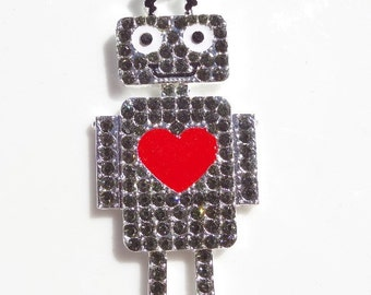61mm*25mm Red and Silver Rhinestone Robot Pendant, P11
