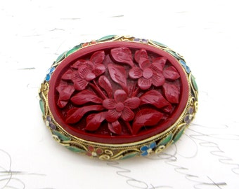 Vintage CHINESE CINNABAR BROOCH Pin Gilt Sterling Silver Enamel Carved Cinnabar Pin Brooch