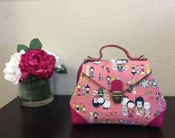 Handmade Little Lily Handbag, Japanese Fabric and Leather Handbag, Crossbody Bag, Top Handle Bag