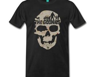 The Goonies Map Skull Shirt, 80's shirt, the goonies, truffle shuffle, one eyed willy, astoria, pirates, treasure, goonies map,