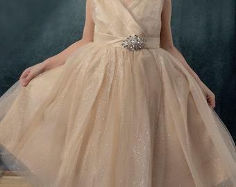 Flower Girl Dress - Tulle Flower Girl Dress - Tulle Dress -  Girls Dress - Pageant Dress - Champagne Dress - Party Dress - Dress- Tutu dress