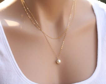 Bridesmaid necklace,Wire wrapped Pearl necklaces,Double Layer Sterling Silver Chain and Freshwater Pearl,bridesmaid gifts