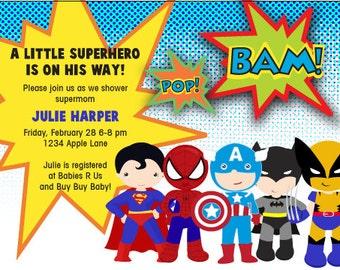 Custom SUPERHERO invite digital comic book supergirl hero batman superman spiderman xmen party boy or girl party birthday invitation invite