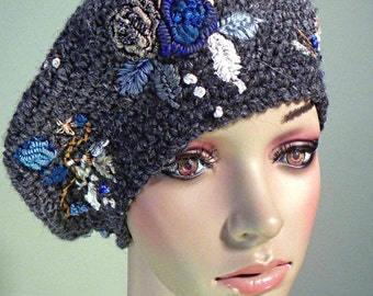 Sale - BERET AS ARTFORM - Wearable Fiber Art Headpiece, La Belle Epoque, Ear Warmers, Raised Crewel Hand Embroideries