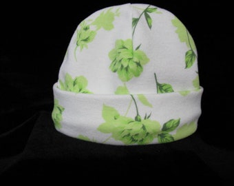 Newborn White With Lime Green Flowers Beanie / Hat  Made And Ready To Ship