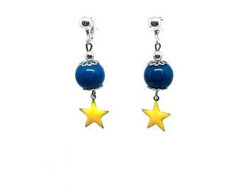 Earrings clips blue beads and yellow stars Epoxy enamel
