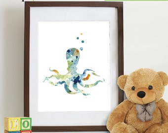 Watercolor Octopus Print, Watercolor silhouettes, Sea Life, Beach theme, Nursery Print, Ocean print, Under the Sea, Item  WC001