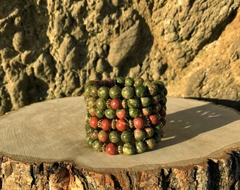 SCORPIO Zodiac Bracelet | UNAKITE & JASPER 108 Bead Mala | October November Birthday | Meditation, Prayer, Yoga Beads, 108 Mala Beads