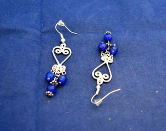 "Sapphire Chandelier Earrings, 2"" long, Natural Gem Beads      E247"