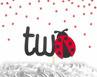 1 pc two lady bug red Glitter Cake Topper for second Birthday Toddler spring summer garden Party theme