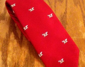 "vtg 60s Wembley Polyester Skinny Tie Necktie Swords Crest Theme 56"" 3"""