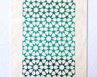 linocut - STARS - 8x10 / printmaking / block print / blue, green / geometric / tesselation / original art / celestial / ten-pointed star