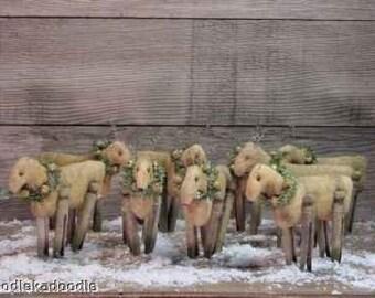 Primitive Christmas Reindeers & Rudolph Instant Digital Download E Pattern ET