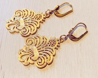 Ornament Earrings 16k Gilded