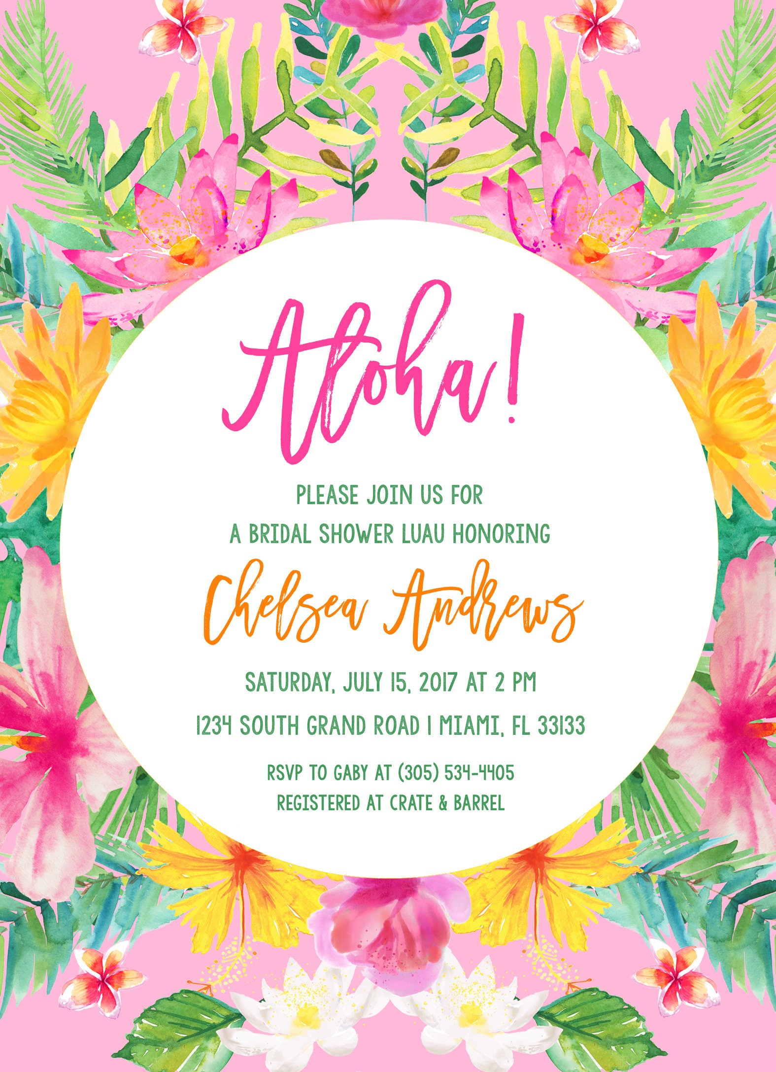 Tropical Bridal Shower Invitation, Luau Bridal Shower Invitation ...