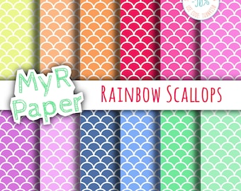 """Scallop Digital Paper Pack: """"Rainbow Scallops"""" - Printable Background - Shells Paper, Fish Scale Pattern, Scale Paper. Digital Scrapbooking"""
