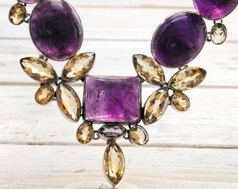 Glamorous Party Necklace, Amethyst and Citrine Gemstone Statement Large Necklace, Big Bold Jewelry, Party Jewelry, Precious Necklace